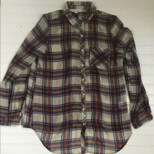 Olive & Oak Long Sleeve Tunic Button Down Plaid